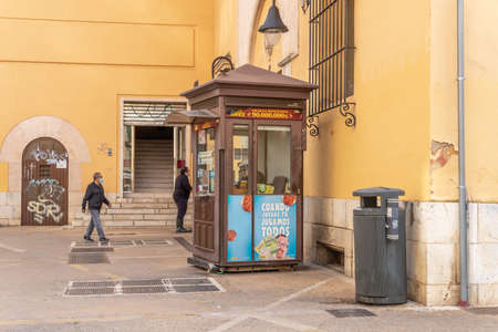 Palma de Mallorca, Spain; March 04 2021: lottery kiosk of the Spanish National Organization for the Blind, ONCE, in the historic center of the city of Palma de Mallorca Editöryel