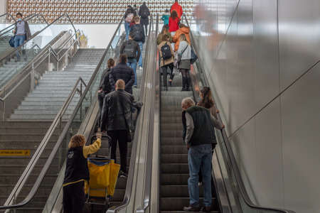Palma de Mallorca, Spain; March 04 2021: Aerial view of the entrance to the Plaza de España Intermodal Station. People wearing face masks due to the Coronavirus pandemic. New normal Editöryel