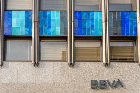 Palma de Mallorca, Spain; March 04 2021: Main facade of the Bilbao Vizcaya Argentaria Bank (BBVA) in the historic center of Palma de Mallorca Editöryel