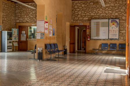 Manacor, Spain; March 18 2021: General view of the interior of the train station in the Majorcan town of Manacor