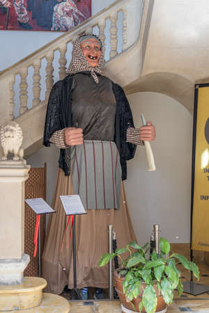 Manacor, Spain; March 18 2021: figure of the Jaia Corema at the entrance of the town hall of Manacor. Figure of an old woman. Mallorcan tradition and folklore