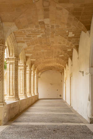 Interior of the Cloister of Sant Vicenç Ferrer, historic building that houses the municipal library of the Majorcan town of Manacor