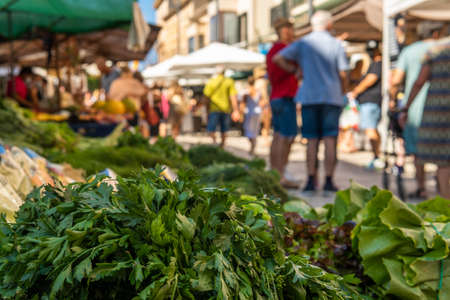 Close-up of bunches of green celery in a street market on the island of Mallorca. In the background, unrecognizable people shopping at the market