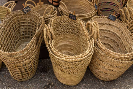 Group of wicker baskets made in Mallorca called Senallas, exhibited in a street market Stock Photo