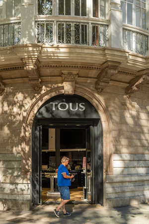Palma de Mallorca, Spain; September 10 2021: Main facade of an establishment of the international fashion and accessories retail chain Tous, in the historic center of Palma de Mallorca