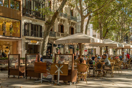 Palma de Mallorca, Spain; September 10 2021: General view of the Paseo del Borne in the historic center of Palma de Mallorca at sunset. Terrace of cafes with customers having a drink Editorial