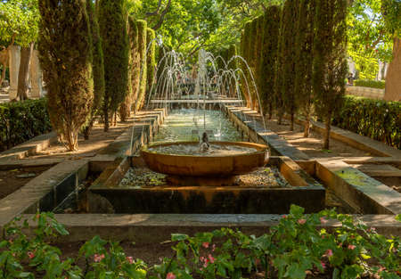 Close-up of Hort del Rei gardens in the historic center of Palma de Mallorca. Image of a tourist attraction Stock Photo