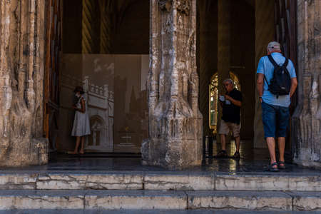Palma de Mallorca, Spain; September 10 2021: Interior of the architectural monument La Lonja in the city of Palma de Mallorca, with tourists inside wearing face masks due to the sanitary measures Editorial