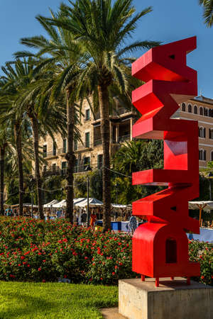 Palma de Mallorca, Spain, September 10 2021: red letters of the city of Palma de Mallorca on the promenade on a sunny summer afternoon