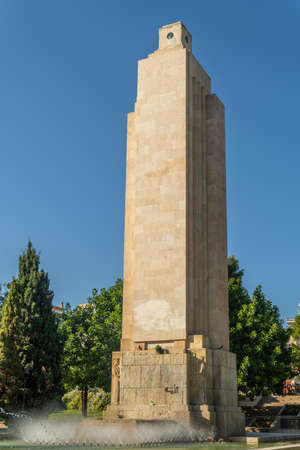 Public monument in the Parc de Sa Feixina in the historic center of Palma de Mallorca at sunset on a sunny day, Spain