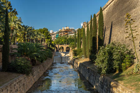 General view of the Sa Riera Torrent in the historic center of Palma de Mallorca at sunset