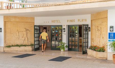 Cala Santanyi, Spain; September 11 2021: Main entrance of the Hotel Pinos Playa in the Majorcan tourist resort of Cala Santanyi, Spain