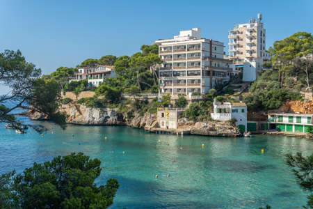 General view of Cala Santanyi beach on the island of Mallorca, the Mediterranean Sea on a sunny morning