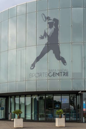 Manacor, Spain; September 25 2021: Main facade of the Rafa Nadal Sports Center which houses the international school, museum and sports courts created by tennis player Rafa Nadal in Manacor, Mallorca
