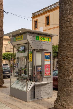 Felanitx, Spain; September 25 2021: Lottery kiosk of the Spanish National Organization for the Blind, ONCE, in the historic center of Felanitx, Mallorca island, Spain Editorial
