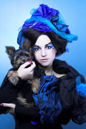 Girl with dog. photo