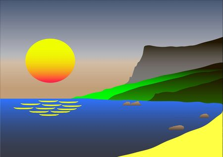 sundown: Picture in colour gradient silhoettes of the sunset, sea, solar path and mountains Illustration