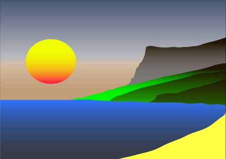 seacoast: Picture in colour gradient silhoettes of the sunset, sea, solar path and mountains Illustration