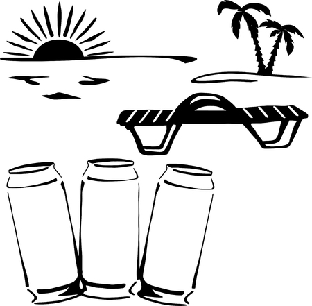 canned drink: Silhouette of three cans of drink on the beach on sunset  Illustration