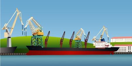 harbour: La nave da carico alla banchina nel porto Vettoriali