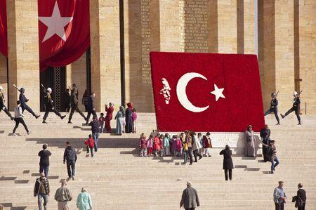 mustafa: The mausoleum of Mustafa Kemal Ataturk, also known as Anitkabir, in Ankara at bright sunny day Editorial