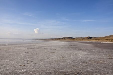 mid distance: The shore of the salt lake Tuz Golu at sunny day