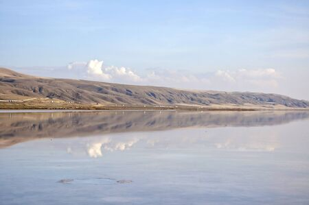 golu: The shore of the salt lake Tuz Golu at sunny day