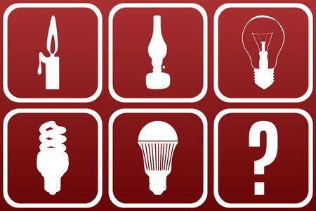 осветительное оборудование: Свет эволюция оборудование концепция: белые иконки на темно-красном градиента backgrond показать эволюцию комнатной осветительного оборудования Иллюстрация
