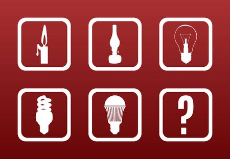 iluminacion led: Luz concepto de equipo evoluci�n: Iconos blancos en gradiente de color rojo oscuro Backgrond muestran la evoluci�n de la sala de equipos de iluminaci�n Vectores