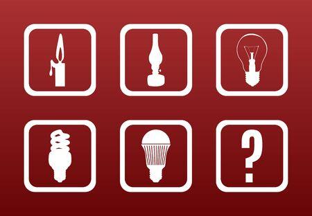 Light equipment evolution concept: white icons on dark red gradient backgrond show the evolution of room lighting equipment Illustration
