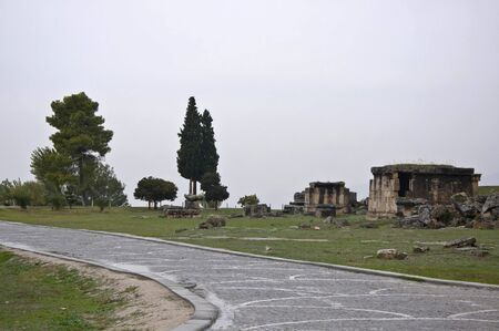 hierapolis: The ancient tombs in Hierapolis of Phrygia at cloudy day