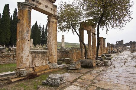 hierapolis: The streeto of ancient Hierapolis at cloudy autumn day