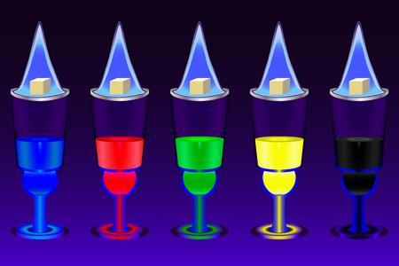 ajenjo: Los cinco vasos con disparos absenta multicolores y llameantes terrones de azúcar sobre ellos en el fondo de color azul degradado