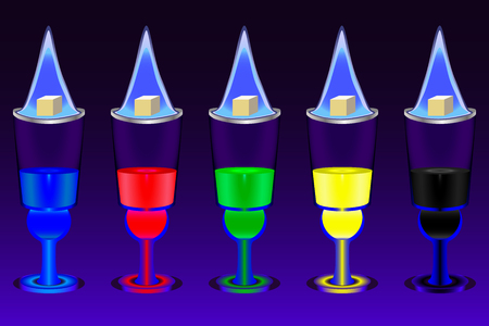 The five glasses with multicolored absinthe shots and flaming sugar cubes over them on the deep blue gradient background