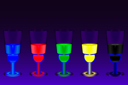 The five glasses with multicolored absinthe shots on the deep blue gradient background