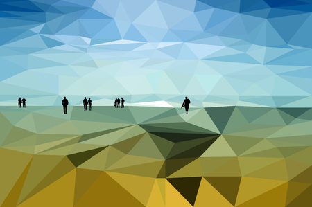shore: Black silhouettes of walking people on the low poly styled landscape of the lakes shore Illustration