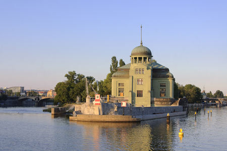 hydroelectric: Old hydroelectric power plant on the Stvanice island in Prague