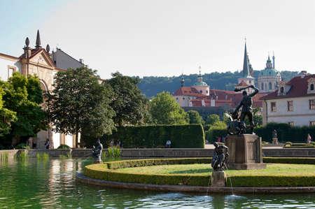 The Pond of Wallenstein Garden in Lesser Town of Prague at the evening