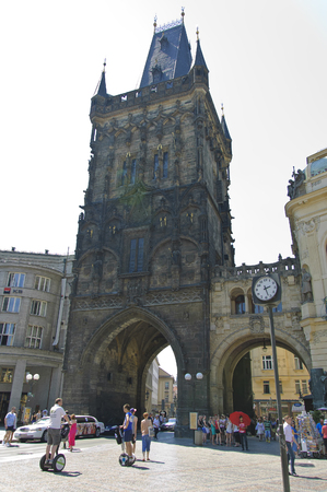 arhitecture: Prague, Czech - 03 July, 2015: Powder Tower - the masterpiece of medieval architecture and the entry gates of Prague Kings Road