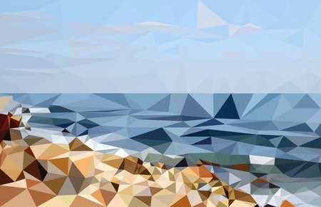 black sea: The abstract landscape of Black Sea shore made in low poly Illustration
