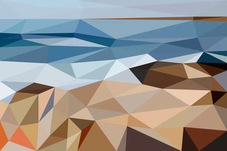 shore: The abstract landscape of Black Sea shore made in low poly Illustration