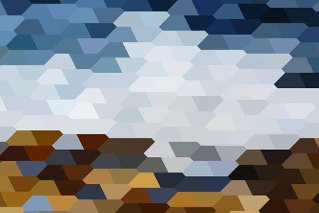 black sea: The abstract landscape of Black Sea shore composed of pentagonal tiles