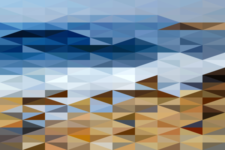 The abstract landscape of Black Sea shore composed of right-angled triangles