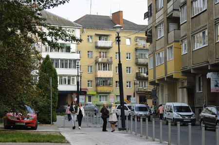 despite: Ivano-Frankivsk, Ukraine - 06 October 2015 : Vahylevycha street. Despite its location in central part of the city this street is very quiet. There are not many people and cars here. Editorial