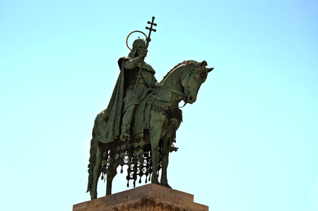 stephen: The monument of the hungarian king Stephen I, also known as a Saint Stephen (Istvan), in Budapest