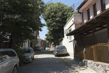 midday: Sozopol, Bulgaria - 22 Juny 2016: In the midday heat quiet cozy streets of Sozopol are not crowded