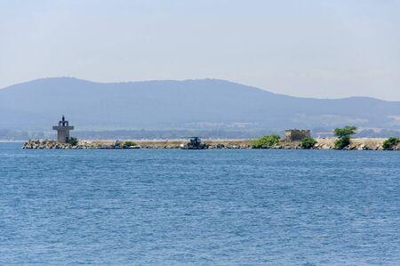 Sozopol, Bulgaria - 22 Juny 2016 : Breakwater in the Sozopols port Editorial