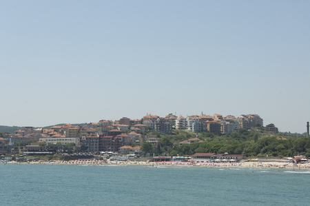 General view of Sozopol (Burgas, Bulgaria) and its beach at sunny summer midday