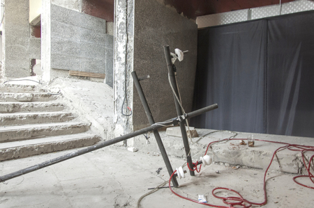 Tirana, Albania - 16 July 2017 : Fallen transmission column inside the pyramid of Tirana