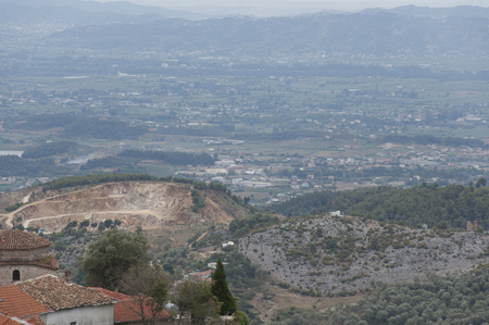 The view of suburbs of the mountain town Kruja in Albania